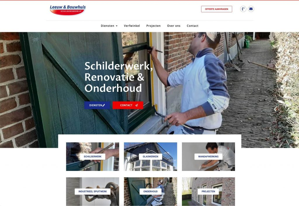 Schildersbedrijf Leeuw & Bouwhuis - Website realisatie: Obviousmedia.nl